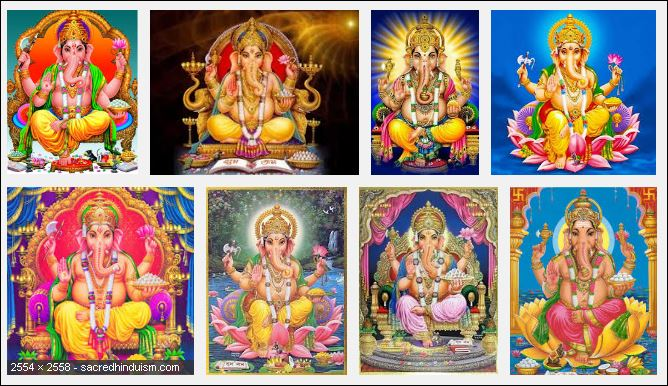 Various Ganesha forms - varies as per Muladhara